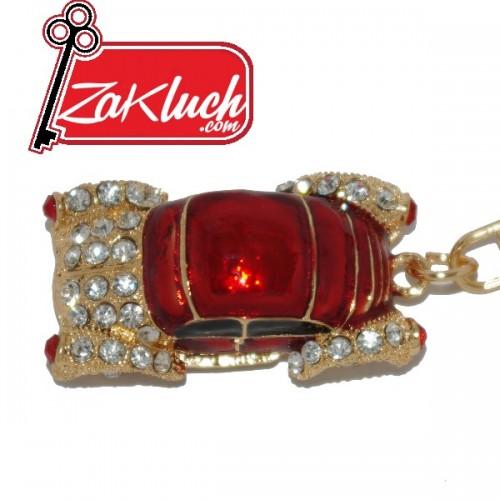 Ретро автомобил - луксозен ключодържател в златист цвят и много кристали