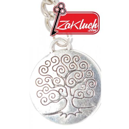 Ключодържател с кръгла метална плочка и изобразено дърво