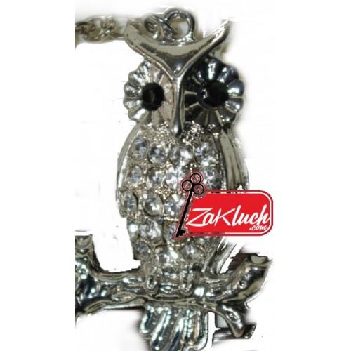 Бухал - луксозен ключодържател с кристали в сребрист цвят