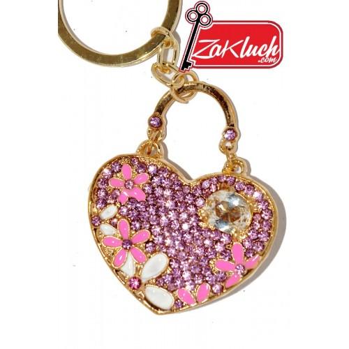 Ключодържател - дамска чанта  с кристали