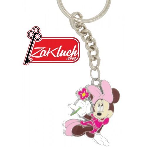 Мини маус с цвете - метален детски ключодържател