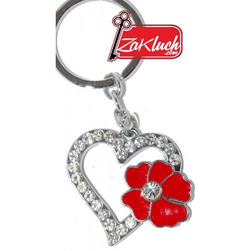 Нежен ключодържател - сърце с кристали и червено цвете