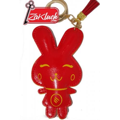 Червено зайче - кожен ключодържател