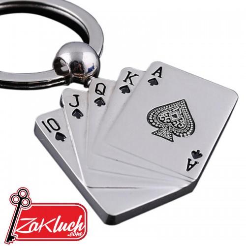 Метален ключодържател - комбинация от  карти - покер