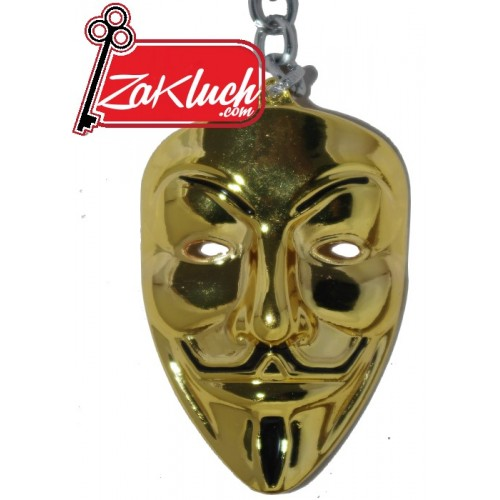 Анонимните - маската на хакерската група - в златист цвят