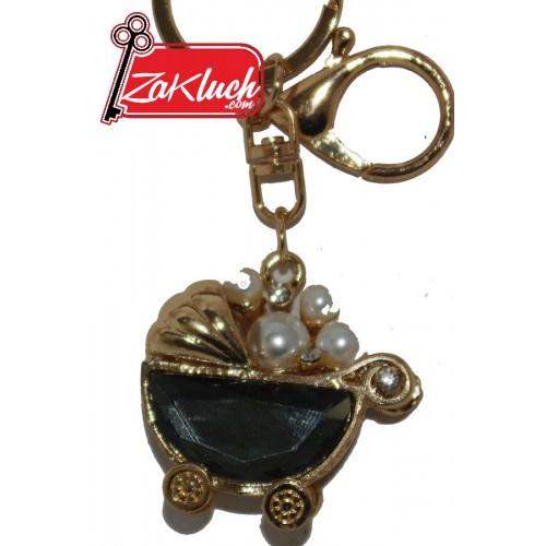 Бебешка количка - луксозен сувенир в златист цвят и с кристал