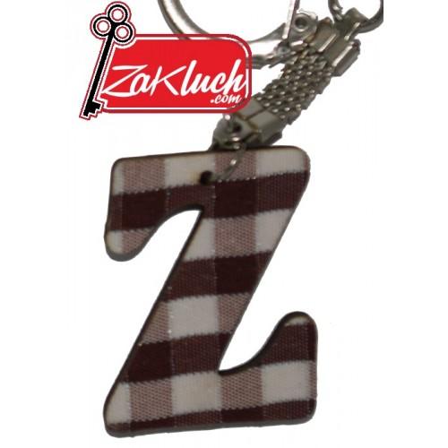 Буквата  Z - дървен ключодържател с раирани страни