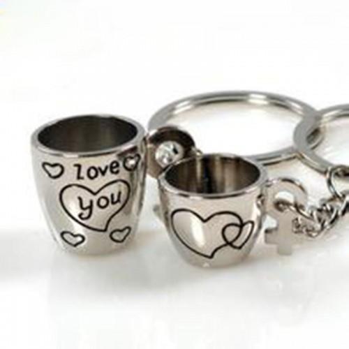 Ключодържател - чашки с надпис I LOVE YOU