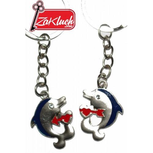 Два влюбени делфина - метален ключодържател