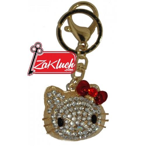 Hello Kitty - луксозен ключодържател в златист цвят
