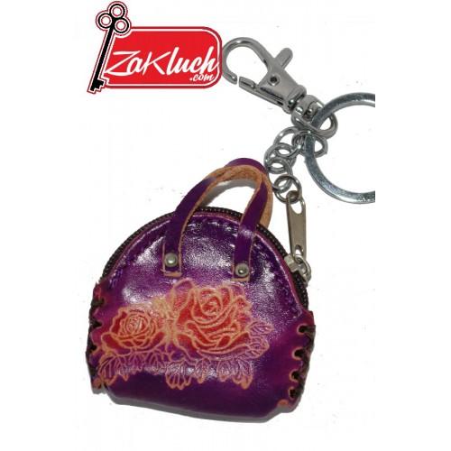 Кожена дамска чанта - ключодържател