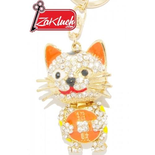 Луксозен златист ключодържател - котенце