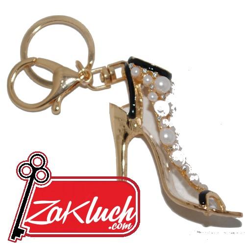 Луксозна дамска обувка с кристали и златист цвят