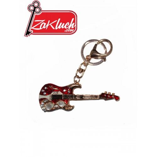 Луксозна китара - метален ключодържател  в златист цвят