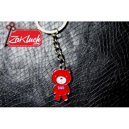 Детски ключодържател - мече  в червен цвят с папионка