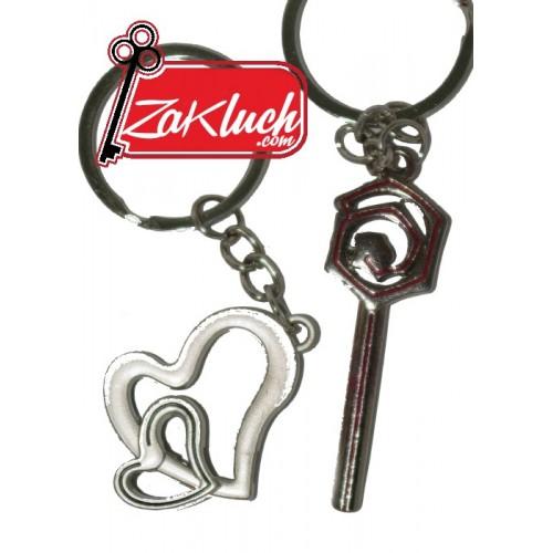 Ключодържател от две части - сърце и старинен ключ