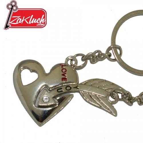 Ключодържател за влюбени, от две части - сърце, пробито със стрела