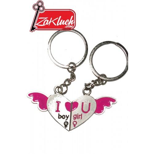Сърчица с крила - луксозен ключодържател в розови цветове