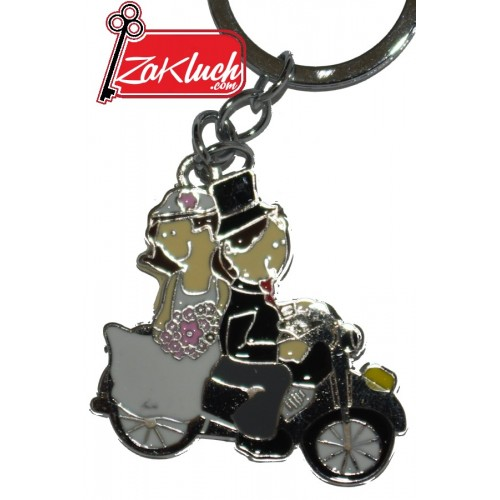 Младоженци на мотор - метален сувенир с едно лице
