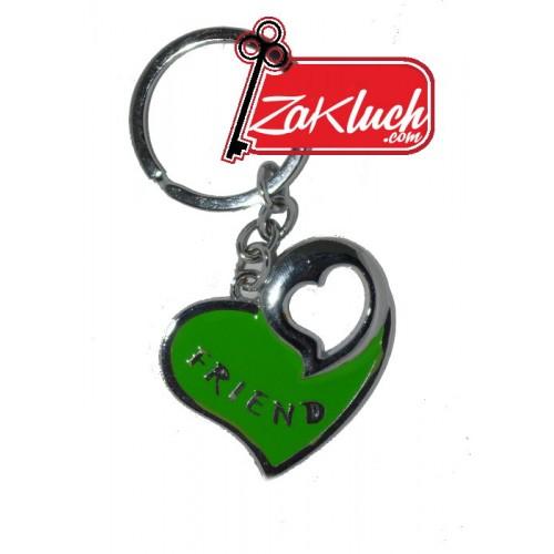 Зелено сърчице - метален ключодържател
