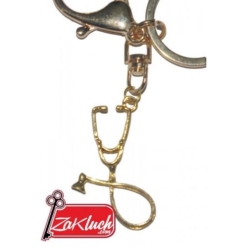 Докторска слушалка в златист цвят - метален сувенир, подходящ за подарък