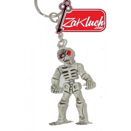 Скелет - гумен ключодържател с червени очи