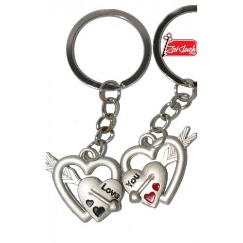 Двоен ключодържател - сърчице в сърцето