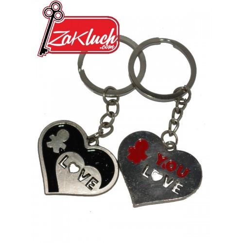 Две сърца - двоен ключодържател за хора, които много се обичат